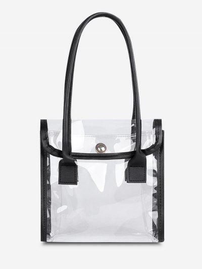 Transparent Binding Square Flap Tote Bag - Black