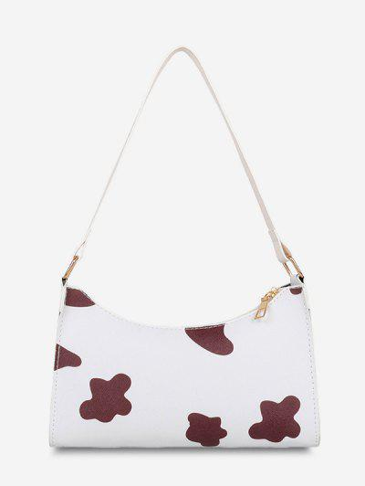 Cow Spot Printed Shoulder Bag - Red Wine