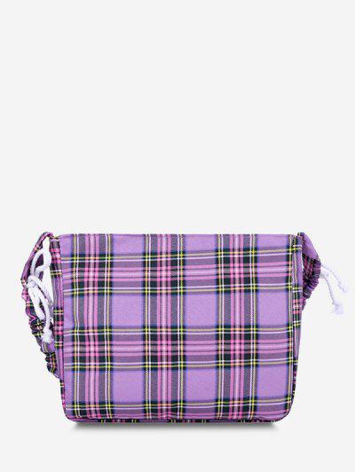 Plaid Drawstring Strap Shoulder Bag - Medium Purple