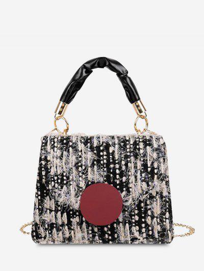 Wool Dual Handle Flap Crossbody Bag - Black