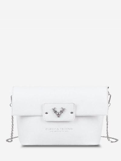 Elk Head Embellished Bucket Bag - Milk White