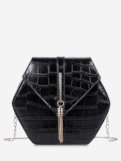 Tassel Hexagon Chain Crossbody Bag - Black