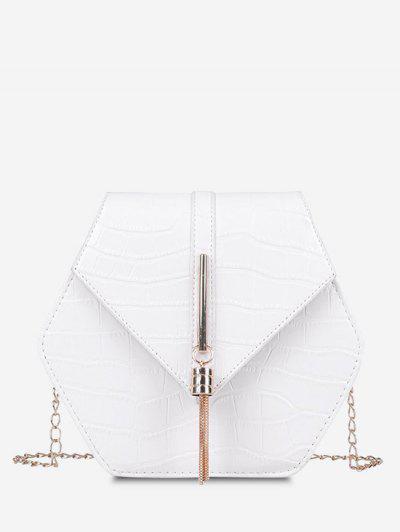 Tassel Hexagon Chain Crossbody Bag - Milk White
