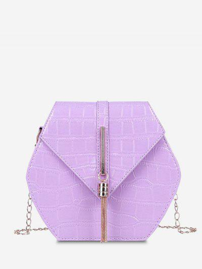 Tassel Hexagon Chain Crossbody Bag - Light Purple