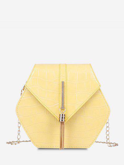 Tassel Hexagon Chain Crossbody Bag - Sun Yellow