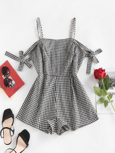 Tie Sleeve Cold Shoulder Gingham Romper - Black White M