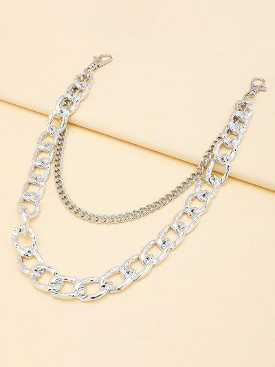 Layered Boyish Trousers Chain - Silver