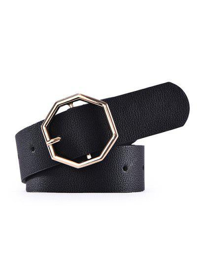 PU Octagon Buckle Belt - Black