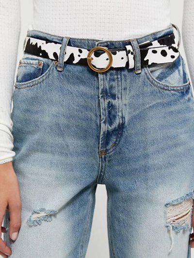 PU Milk Cow Print Round Buckle Belt - Milk White