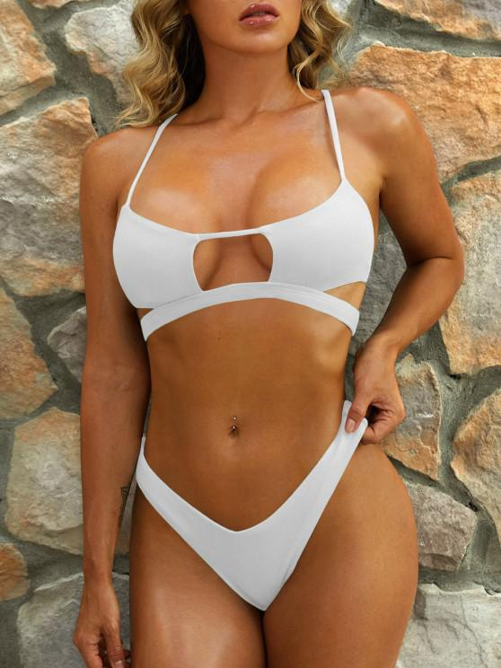 sale ZAFUL Cutout Textured High Leg Bikini Swimwear - WHITE S