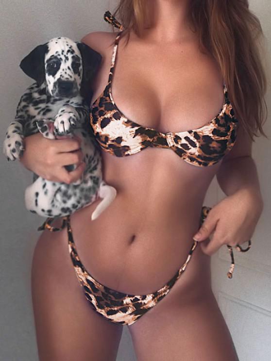 latest ZAFUL Leopard Tie Underwire Bikini Set - LEOPARD L
