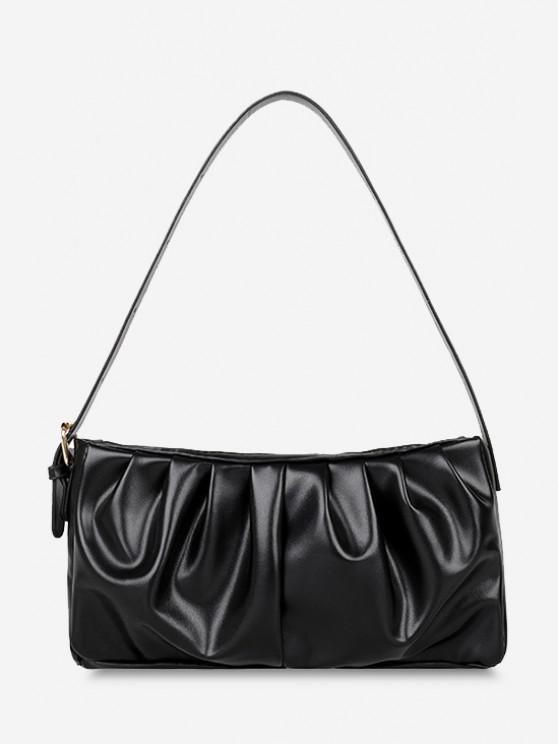 women Minimalist Ruched Soft Shoulder Bag - BLACK