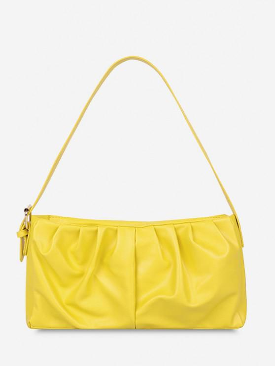 lady Minimalist Ruched Soft Shoulder Bag - SUN YELLOW
