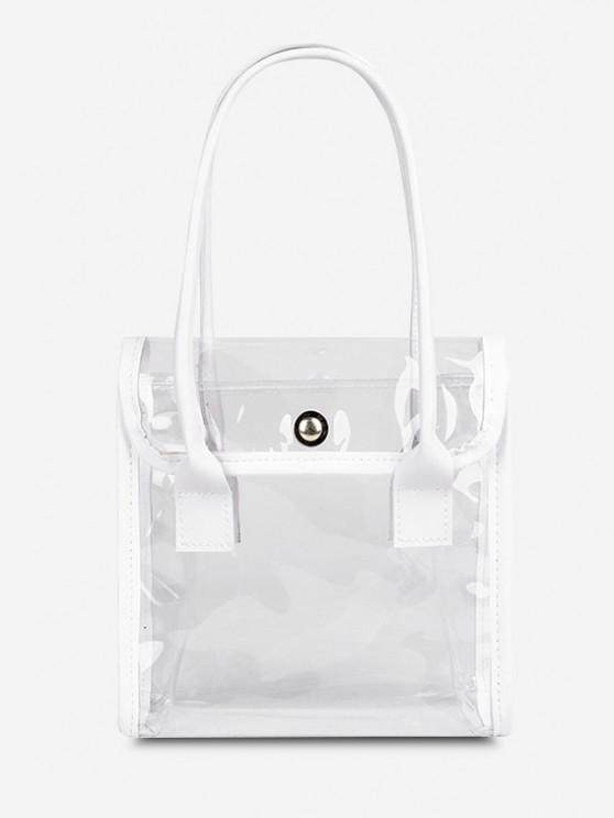 shop Transparent Binding Square Flap Tote Bag - MILK WHITE