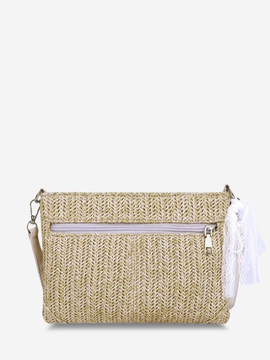 outfit Hemp Woven Lace Tie Shoulder Bag - LIGHT KHAKI