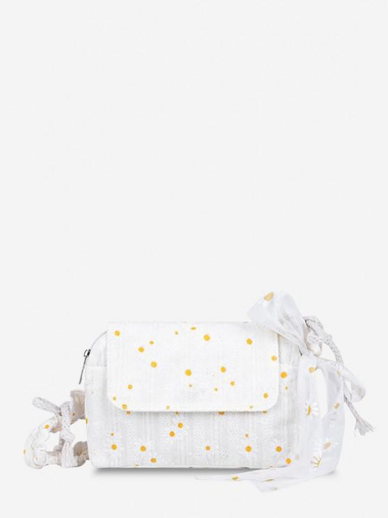 shop Daisy Embroidered Lace Cinched Strap Shoulder Bag - WHITE