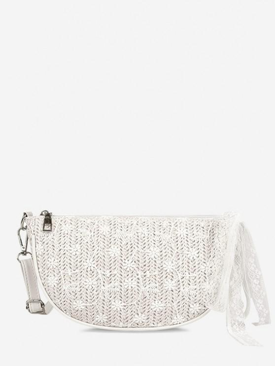 shops Floral Woven Lace Tied Crossbody Bag - WARM WHITE
