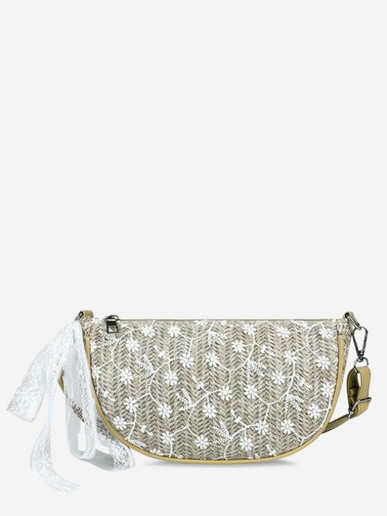latest Floral Woven Lace Tied Crossbody Bag - LIGHT KHAKI