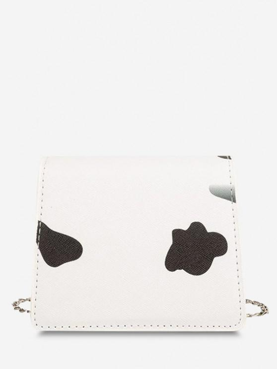 trendy Cow Print Flap Chain Mini Crossbody Bag - BLACK