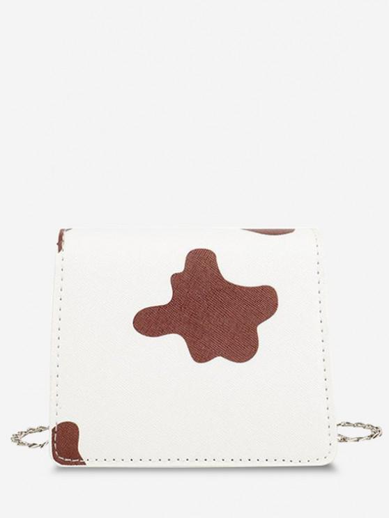 fashion Cow Print Flap Chain Mini Crossbody Bag - DEEP BROWN