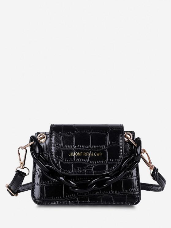 chic Boxy Embossed Flap Mini Crossbody Bag - BLACK