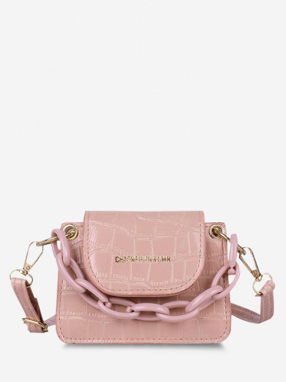 unique Boxy Embossed Flap Mini Crossbody Bag - PINK