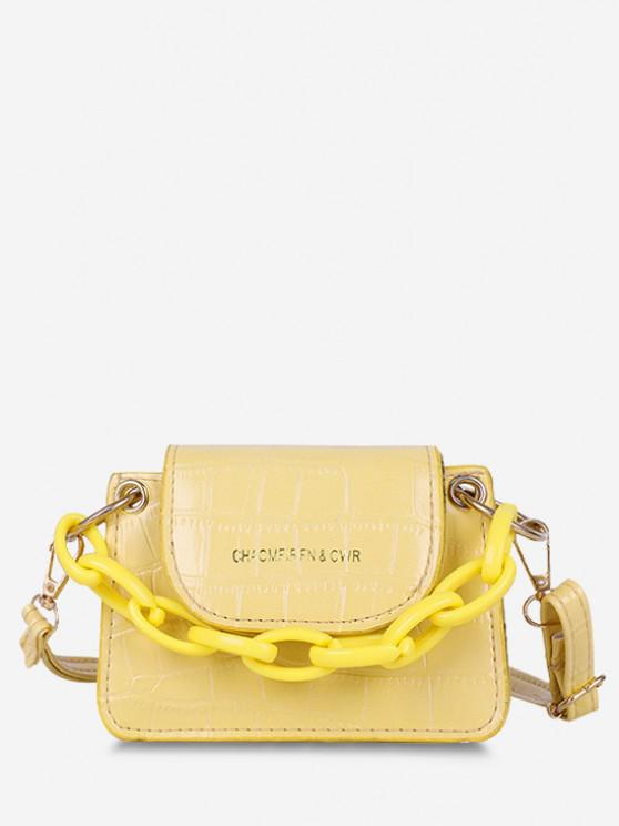 affordable Boxy Embossed Flap Mini Crossbody Bag - SUN YELLOW