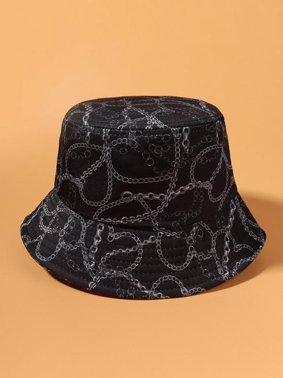 sale Casual Chain Print Outdoor Bucket Hat - DARK SLATE BLUE