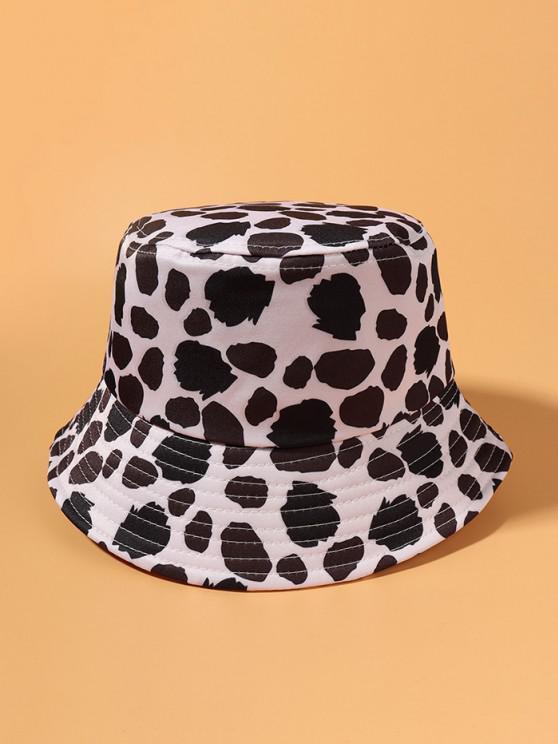 Kuhmuster Gebundene Bucket Hut - Weiß