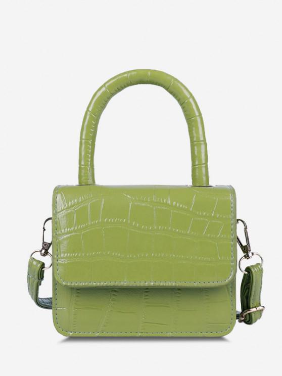 chic Embossed Dual Handle Flap Micro Crossbody Bag - TEA GREEN