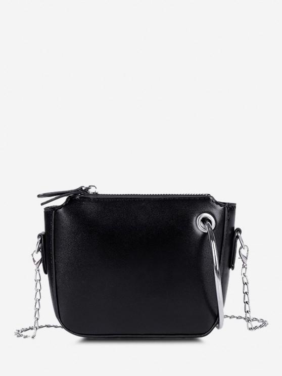 lady Metal Ring Embellishment Chain Crossbody Bag - BLACK