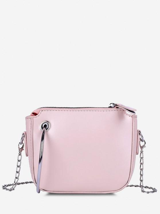 best Metal Ring Embellishment Chain Crossbody Bag - PINK