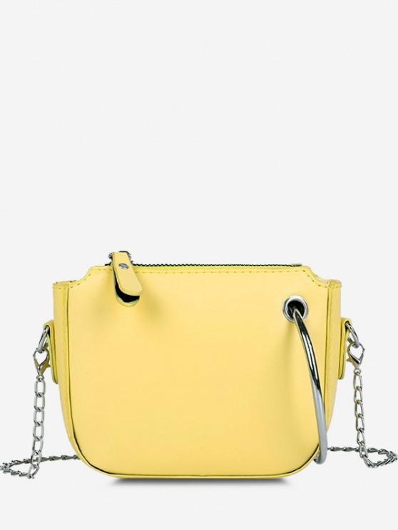 online Metal Ring Embellishment Chain Crossbody Bag - SUN YELLOW