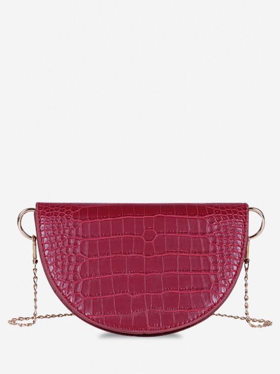 Semicircle Embossed Flap Chain Shoulder Bag - نبيذ احمر