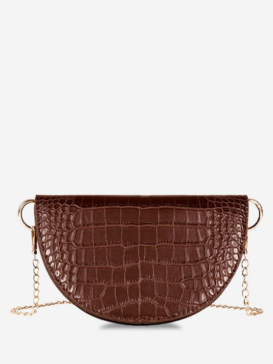 outfits Semicircle Embossed Flap Chain Shoulder Bag - DEEP BROWN