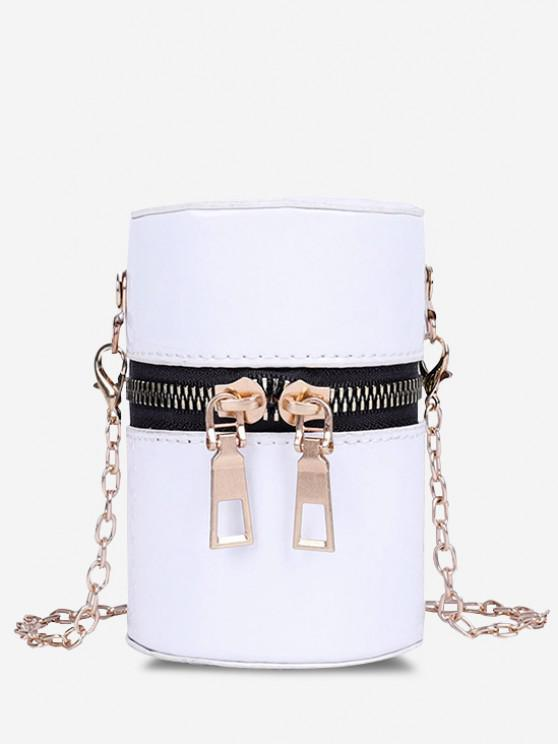 unique Faux Patent Leather Cylinder Micro Crossbody Bag - MILK WHITE