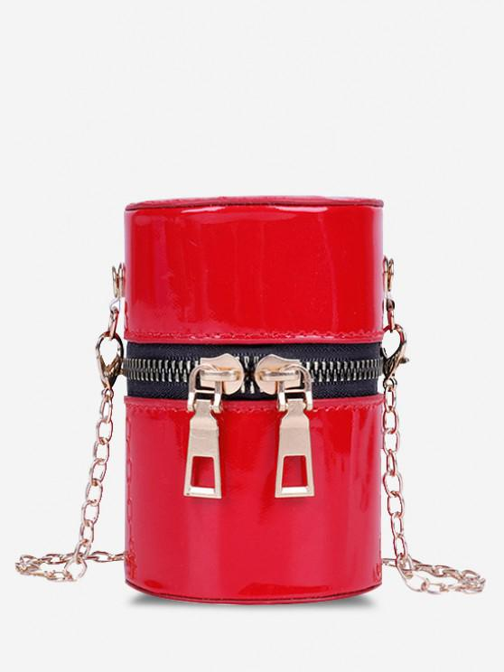 sale Faux Patent Leather Cylinder Micro Crossbody Bag - RED