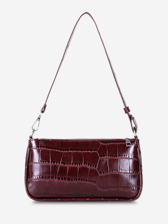 womens Minimalistic Embossed Rectangle Shoulder Bag - DEEP RED