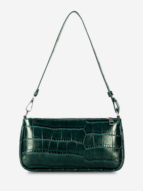 women Minimalistic Embossed Rectangle Shoulder Bag - MEDIUM SEA GREEN