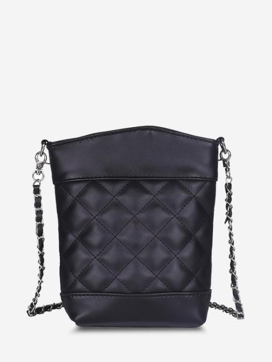 women's Lattice Quilted Topstitching Chain Crossbody Bag - BLACK