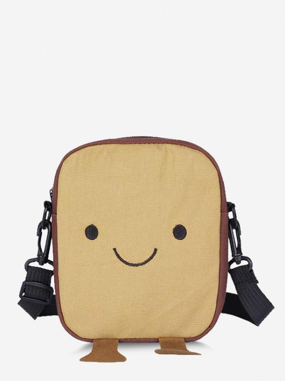 new Lovely Smiling Face Casual Crossbody Bag - LIGHT KHAKI