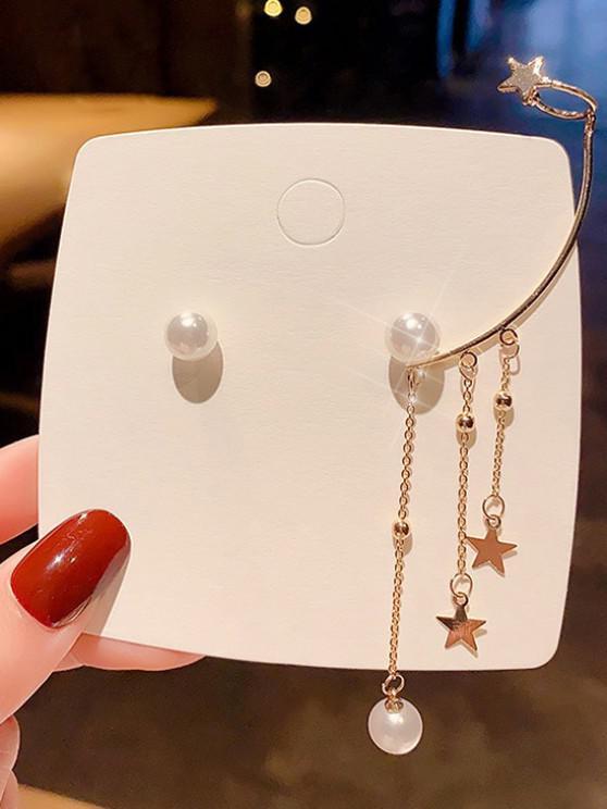 hot Faux Pearl Star Charm Cuff Asymmetric Stud Earrings - GOLDEN 1 PAIR