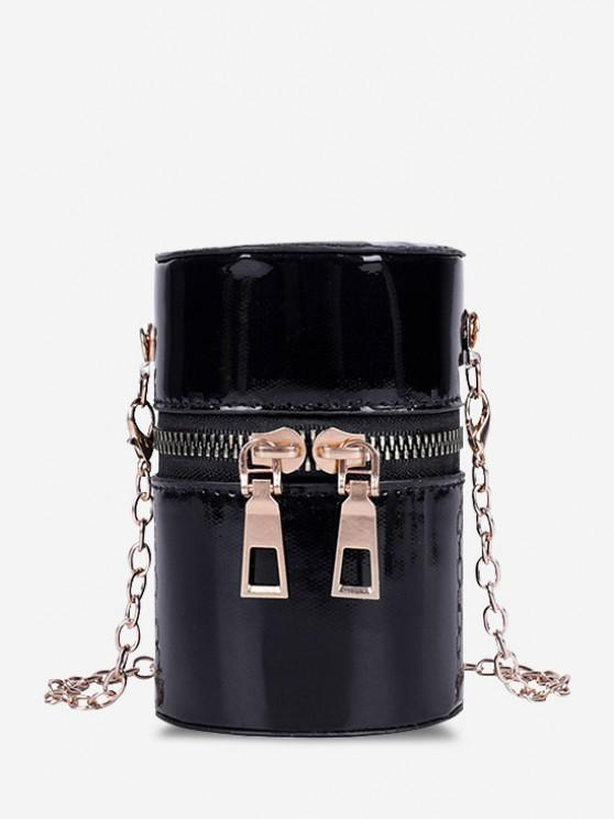sale Faux Patent Leather Cylinder Micro Crossbody Bag - BLACK