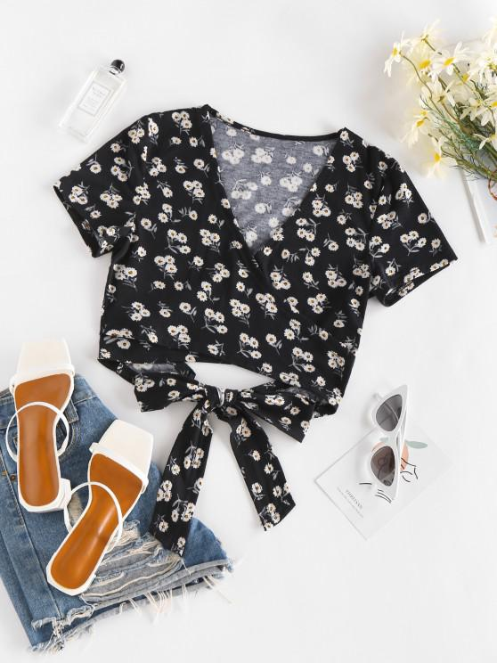 new ZAFUL Ditsy Floral Bowtie Crop Wrap Blouse - BLACK S