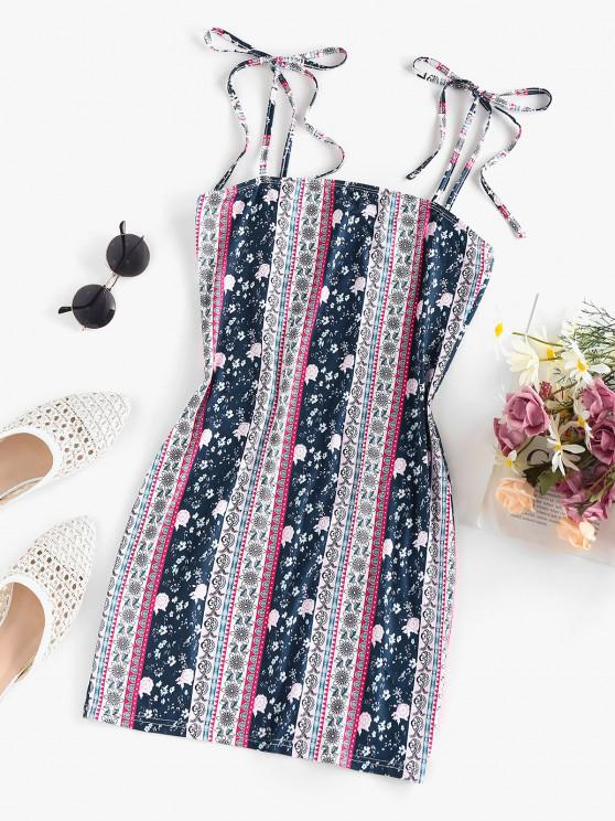 outfits ZAFUL Ethnic Floral Tie Shoulder Cami Dress - MULTI L