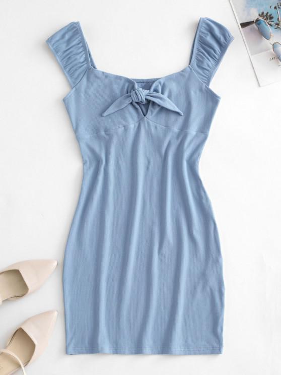 ZAFUL Robe Moulante Nouée en Velours Côtelé - Bleu clair S