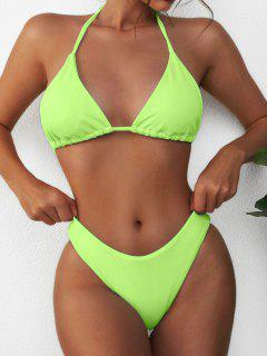 ZAFUL Textured Halter Bikini Swimwear - Green S