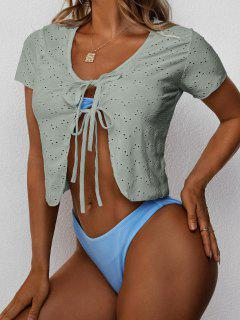 Tie Knot Eyelet Cover-up Top - Dark Sea Green