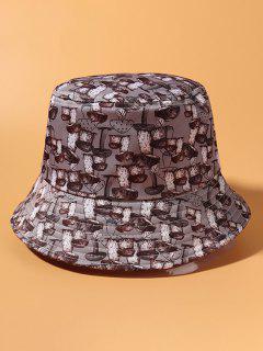 All-Over Mushroom Print Casual Bucket Hat - Smokey Gray