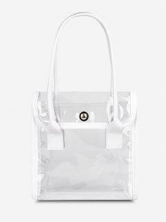 Transparent Binding Square Flap Tote Bag - Milk White